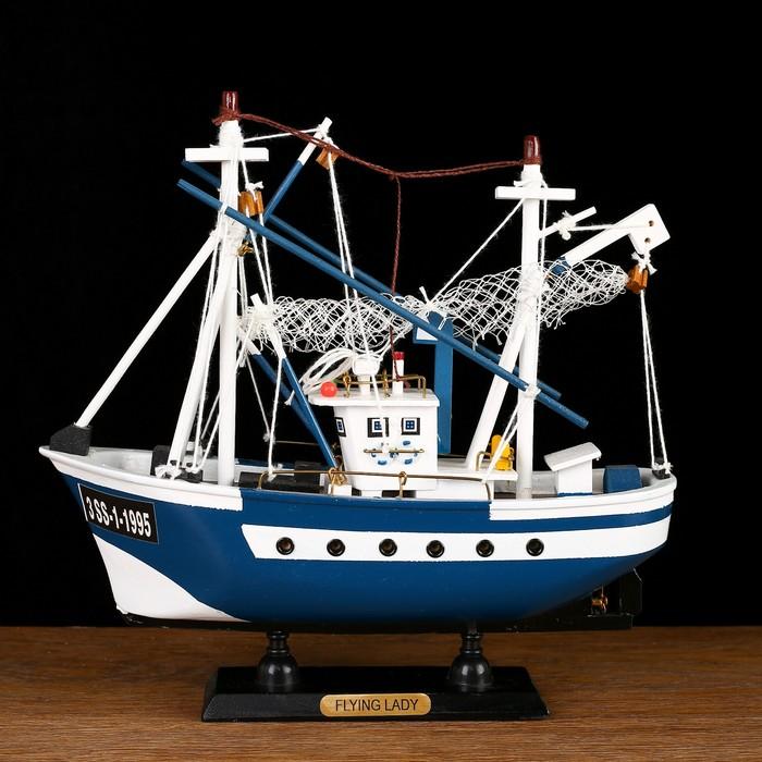 Корабль-баржа сувенирный Flying Lady, малый, голубые борта, сетка