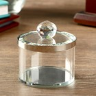 The box is glass with a metal bezel and Silver 7x6,5x6,5 cm