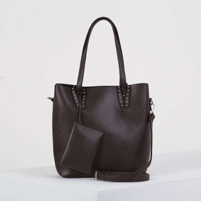 Сумка женская, отдел на молнии, наружный карман, с кошельком, длинный ремень, цвет коричневый - фото 51131