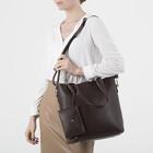Сумка женская, отдел на молнии, наружный карман, с кошельком, длинный ремень, цвет коричневый - фото 51136