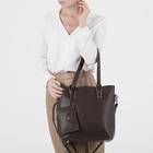 Сумка женская, отдел на молнии, наружный карман, с кошельком, длинный ремень, цвет коричневый - фото 51132