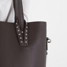 Сумка женская, отдел на молнии, наружный карман, с кошельком, длинный ремень, цвет коричневый - фото 51133