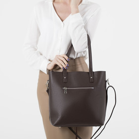 Сумка женская, отдел на молнии, наружный карман, с кошельком, длинный ремень, цвет коричневый - фото 51134
