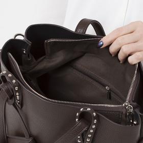Сумка женская, отдел на молнии, наружный карман, с кошельком, длинный ремень, цвет коричневый - фото 51135