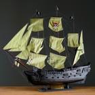 """Корабль сувенирный большой """"Чёрная жемчужина"""" - борта тёмные, три мачты, паруса с пиратским флагом"""
