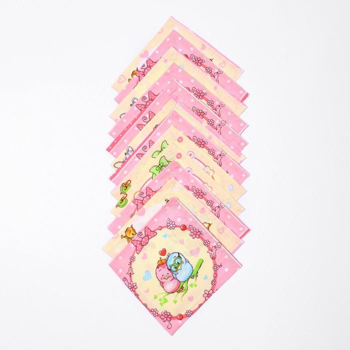 Набор платков носовых детских 18х18 см, 12шт, рис 21020 розовый микс, 100г/м хл100%