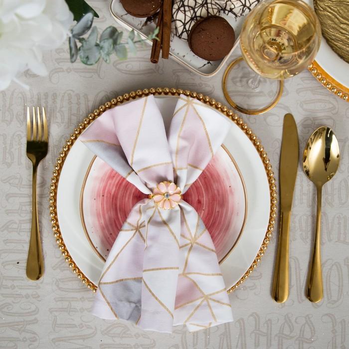 """Набор """"Pink flower"""" салфетка 40х40 см, кольцо 3х4,2 см"""