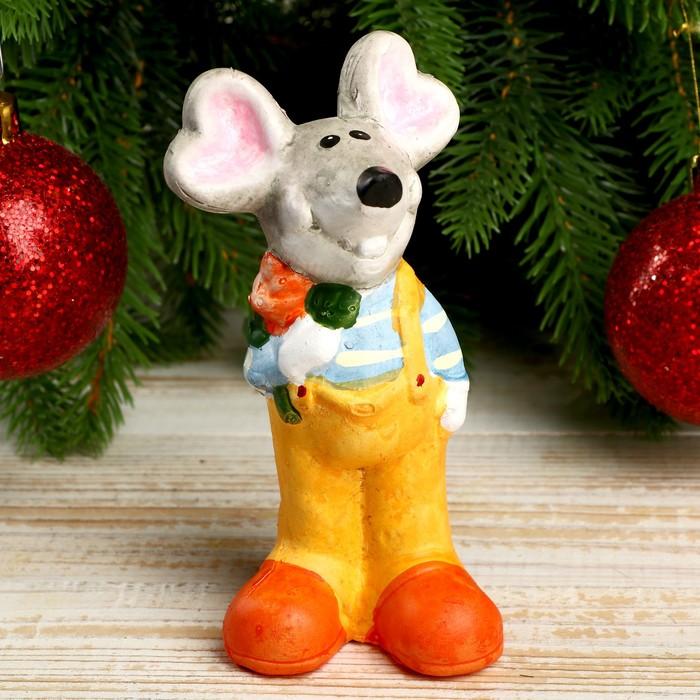 """Сувенир керамика """"Нарядный мышь с цветочком"""" 14х7,2х5,3 см"""