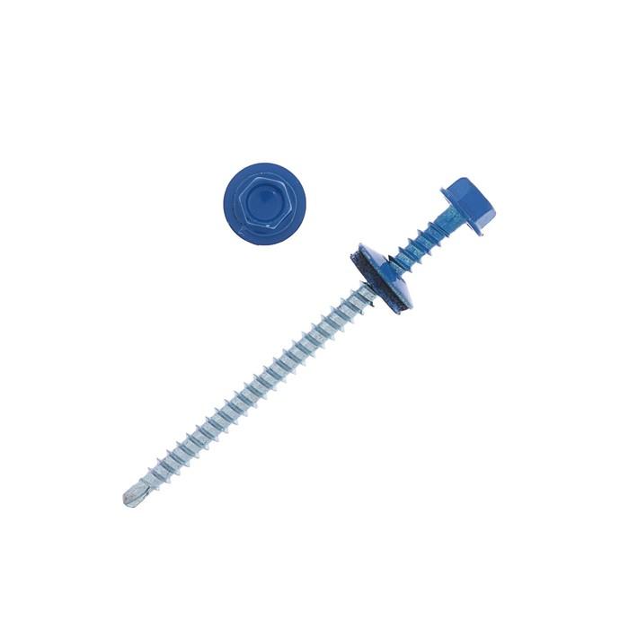 Саморезы кровельные 4.8х76 RAL5005, синий, 100 шт.