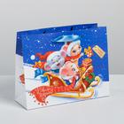 Пакет ламинированный горизонтальный «Новогодние сани», MS 23 × 18 × 8 см