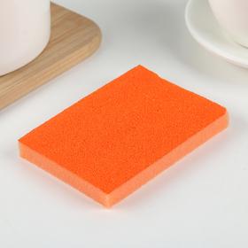 Губка чистящая со скрабером 10×7×1,4 см, цвет МИКС
