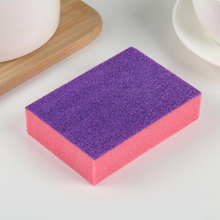 Губка чистящая со скрабером 10×7×2,5 см, цвет МИКС