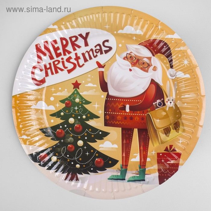 "Plate paper ""Santa Claus in Christmas trees"" set of 6 PCs"