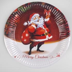 Тарелка бумажная «Дед Мороз с подарками», набор 6 шт.