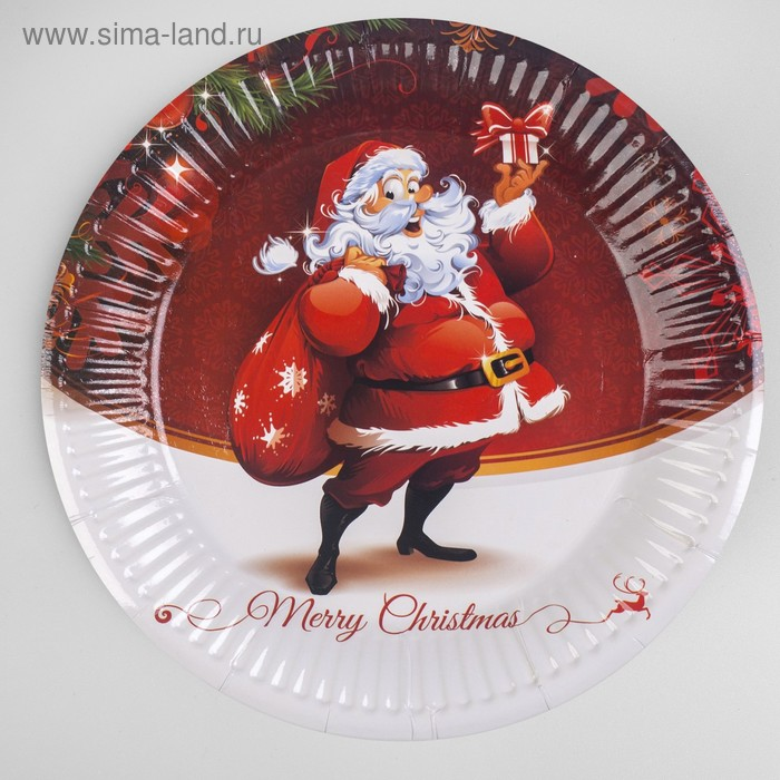 "Plate paper ""Santa Claus with gifts"" set of 6 PCs"