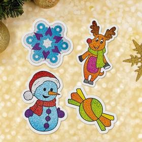 """Новогодняя фреска на магните """"Олень и снеговик"""""""