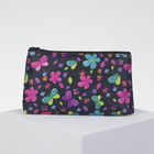 Cosmetic bag simple Butterfly, 18*1,5*10cm, division zipper, black
