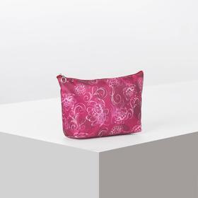 Cosmetic bag, simple Flowers, 18 x 1.5*10cm, division zipper, Burgundy