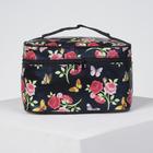 Beautician-chest Flowers 19*11*11,5 cm Department zipper with mirror, black