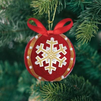"""Елочный шар своими руками """"Новогодний"""", красный"""