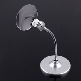 Лупа настольная 2,5х, 8х, диаметр 9см, на гибкой ножке, с подсветкой