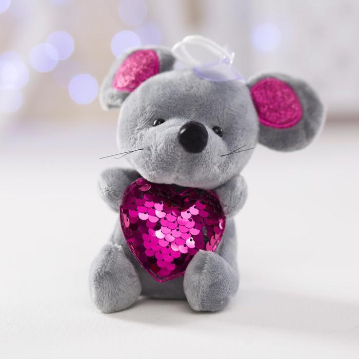 """Мягкая игрушка """"Мышонок с сердцем"""" на присоске, пайетки, цвета МИКС"""