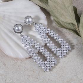 """Серьги с жемчугом """"Мотив"""" треугольник, цвет белый в серебре"""