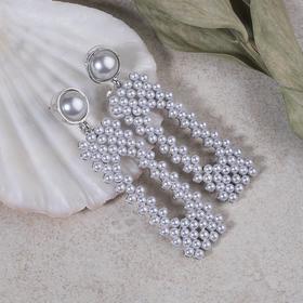 """Серьги с жемчугом """"Мотив"""" прямоугольник, цвет белый в серебре"""