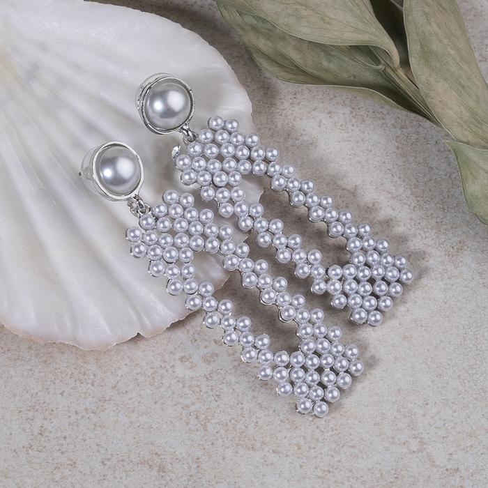 """Серьги с жемчугом """"Мотив"""" прямоугольник, цвет белый в серебре - фото 798287515"""