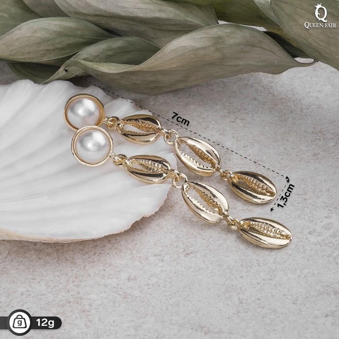 """Серьги с жемчугом """"Ракушки"""", цвет белый в золоте - фото 798287532"""