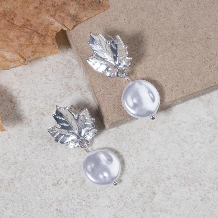 """Серьги с жемчугом """"Листопад"""", цвет белый в матовом серебре - фото 798287540"""