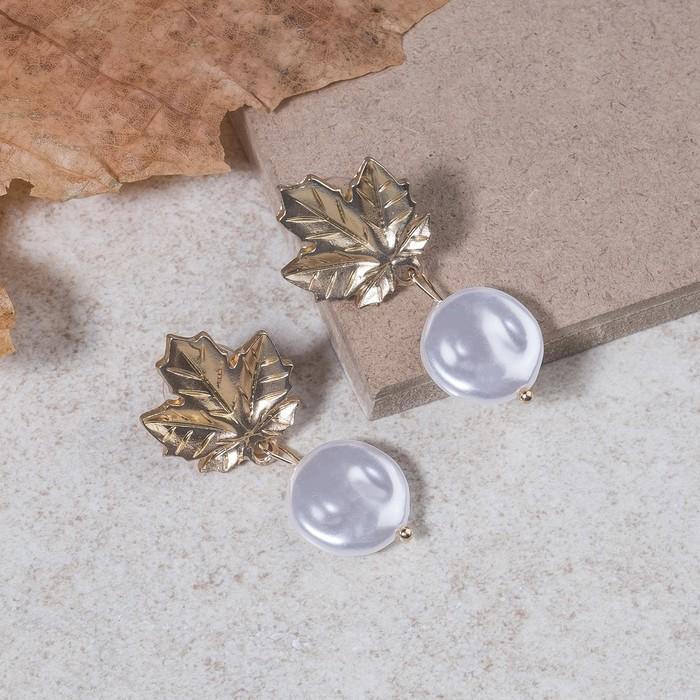 """Серьги с жемчугом """"Листопад"""", цвет белый в матовом золоте - фото 798287542"""
