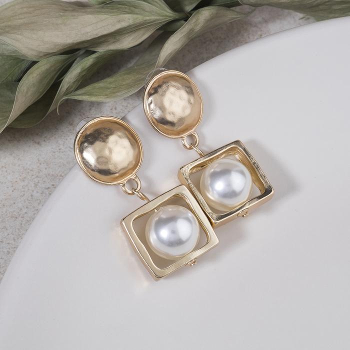 """Серьги с жемчугом """"Фемида"""", цвет белый в матовом золоте - фото 798287560"""