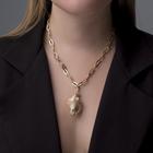 """Кулон """"Цепь"""" ракушка крупная, 50 см, цвет молочный в золоте - фото 2125947"""