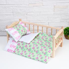 Постельное бельё для кукол «Царевна лягушка на зелёном», простынь, одеяло, подушка