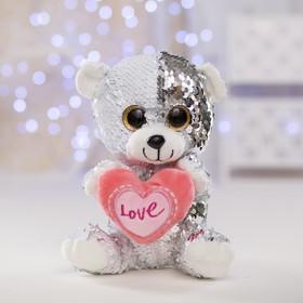Мягкая игрушка «Медведь с сердцем», пайетки