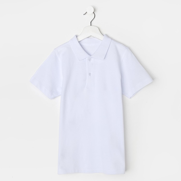 Футболка-поло для мальчика, белый, 146 см