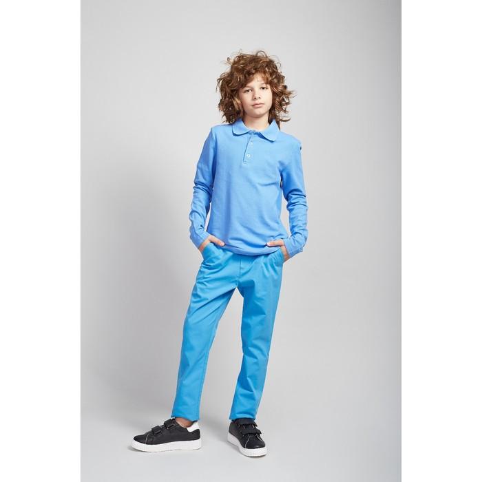 Рубашка-поло для мальчика голубой, 134 см