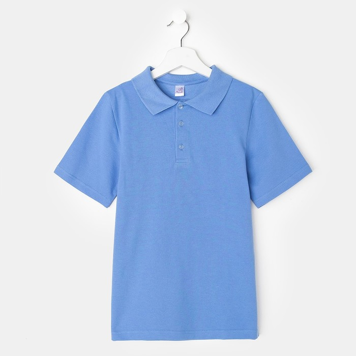 Футболка-поло для мальчика, голубой, 140 см