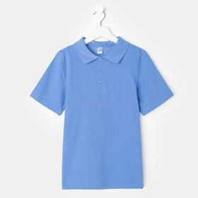 Футболка-поло для мальчика, голубой, 152 см