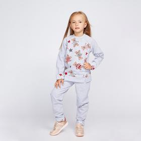Костюм для девочки (джемпер/брюки) «Мишка», цвет серый, рост 104 см