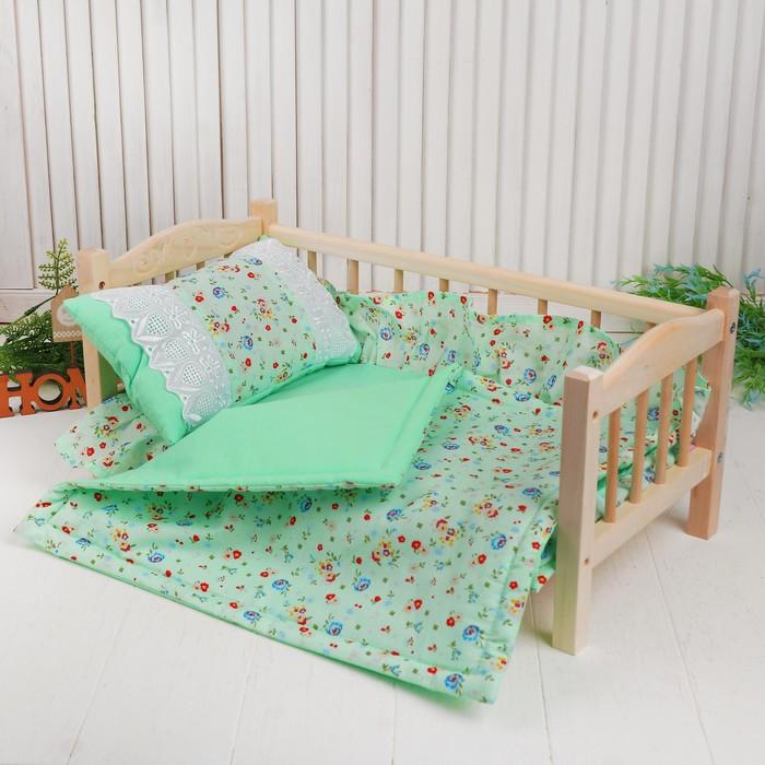 """Кукольное постельное""""Цветочки на зеленом """"простынь,одеяло,46*36,подушка 27*17"""