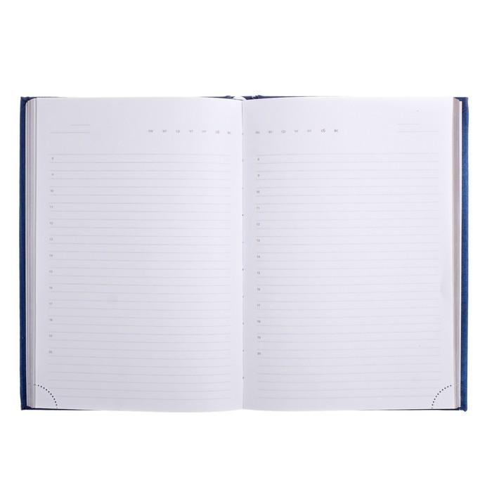 Ежедневник недатированный А5, 160 листов deVENTE Adore, искусственная кожа, серебряный срез, ляссе, синий - фото 373635080