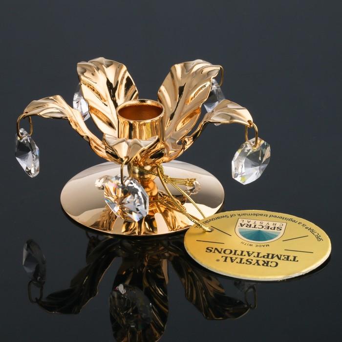 Подсвечник «Цветок», 6.5×6.5×3 см, с кристаллами Сваровски