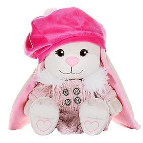 Мягкая игрушка «Зайка Лин» в розовом пальто и яркой шапке, 25 см