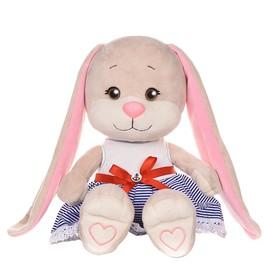Мягкая игрушка «Зайка Лин» в сине-белом платье с красным поясом, 25 см