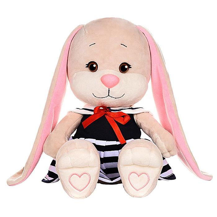 Мягкая игрушка «Зайка Лин» в синем платье с белым воротником, 25 см