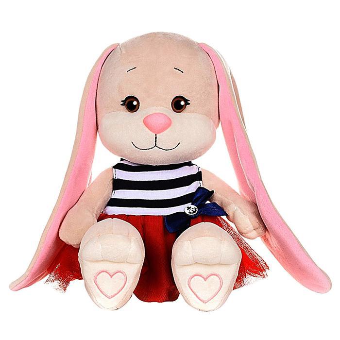 Мягкая игрушка «Зайка Лин» в сине-красном платье с бантиком, 25 см