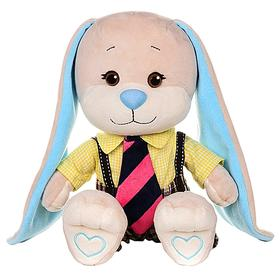 Мягкая игрушка «Зайка Жак» в желтой рубашке и полосатом галстуке, 25 см