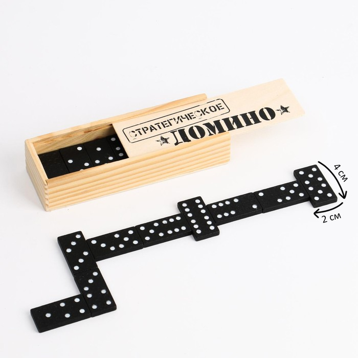 """Домино """"Стратегическое"""", деревянный пенал"""